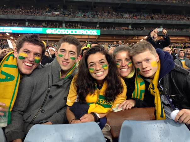 Josh, Kristian, Me, Jacqui and Tom face painted and decked out in green and gold at the Socceroos game