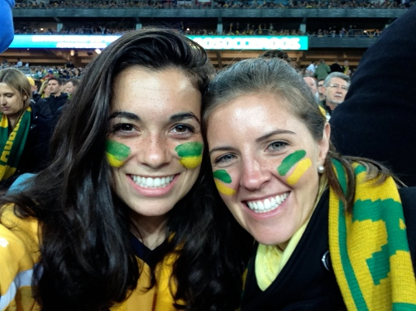 Jacqui and I at the Socceroos game!