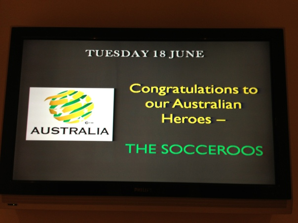 Screen the hotel put up to welcome the Socceroos back!